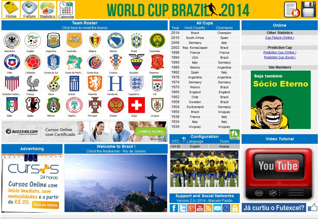 World Cup Brazil 2014 Spreadsheet in 5 languages