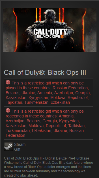 Call of Duty: Black Ops III (Steam Gift/RU&CIS) Deluxe