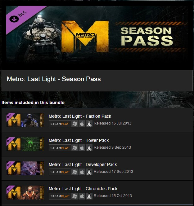 Metro Franchise Pack + Season Pass (Steam Gift) (ROW)