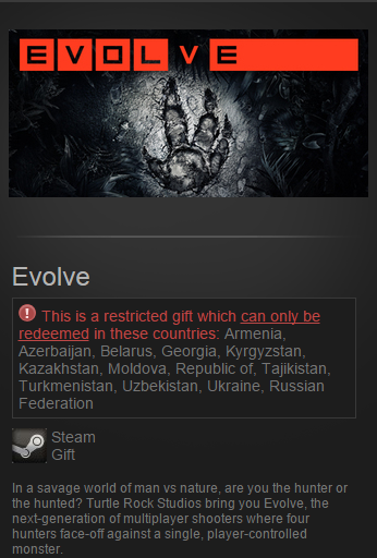 Evolve  (Steam Gift / RU&CIS / VPN*)