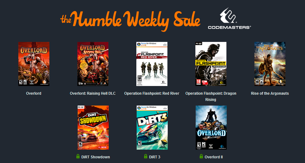 Humble Weekly Sale: Codemasters
