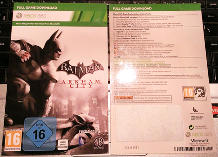 Game BATMAN ARKHAM CITY code Xbox 360 regions of RU/EU