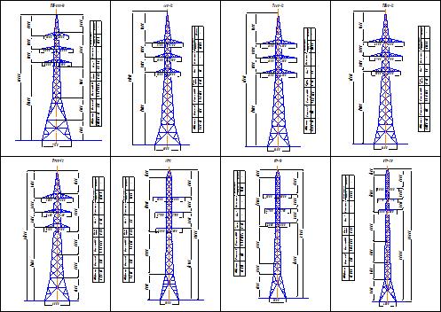 Схема опоры ЛЭП 110 кВ
