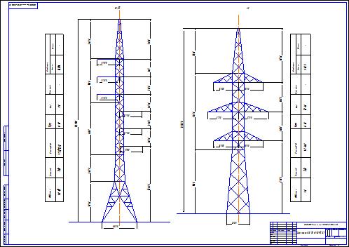 Схема опоры ЛЭП 110 кВ (СО-III