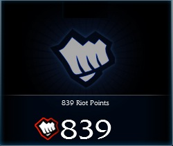 Купить 839 Riot Points League of Legends (EURO)