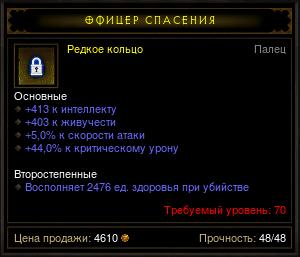 Купить Diablo 3 - Кольцо (70лвл) 413инт 403жив 44%кр.ур 5%ско