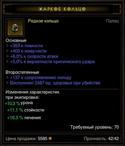 Купить Diablo 3 - Кольцо (70лвл) лов жив урон крит (на выбор)