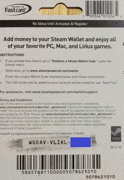 $20 steam wallet online code
