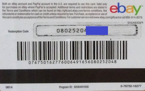 EBAY 50 $ GIFT CARD (PHOTO) СКИДКИ