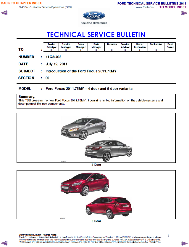 Ford tecnical service bulletins 2011