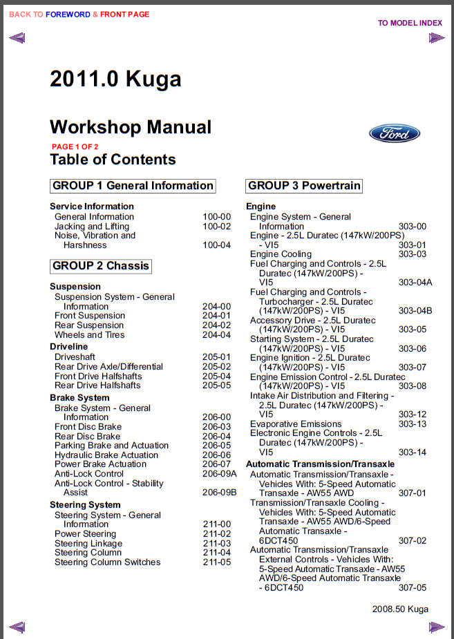 Ford Kuga 2011 Workshop manual (Инструкции по ремонту)