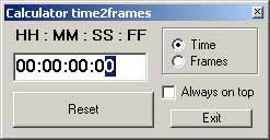 Калькулятор Frames to TimeCode и обратно