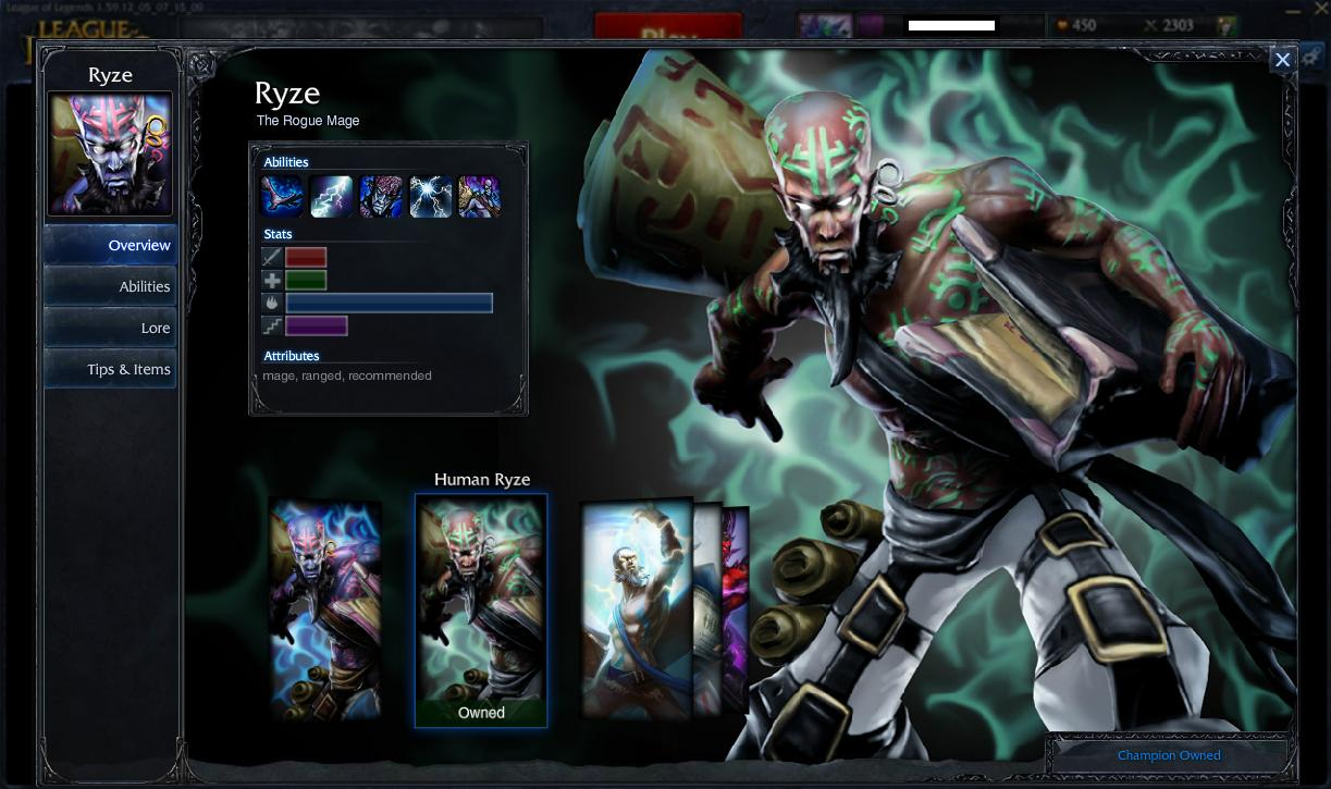 League of Legends Human Ryze Skin (любой сервер*)