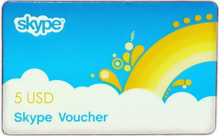 Пополнение Skype 5$ (Skype Telephony Voucher for 5 USD)