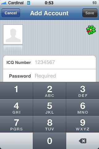icq на iPhone (BeejiveIM)