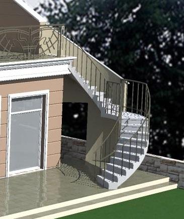 Полукруглая металлическая лестница (DWG)