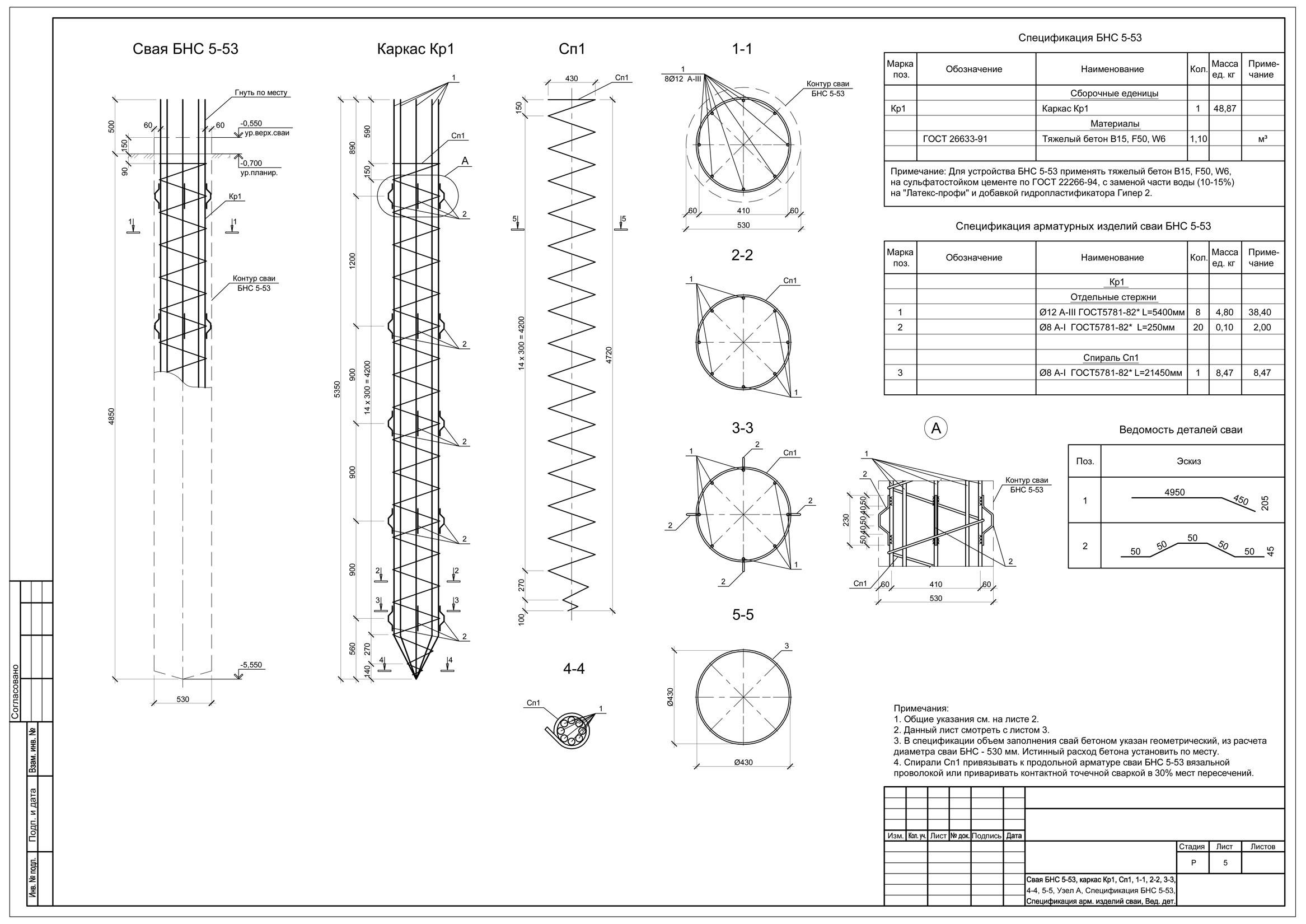 Свайный фундамент для коттеджа типа RUSKA-147 (DWG)