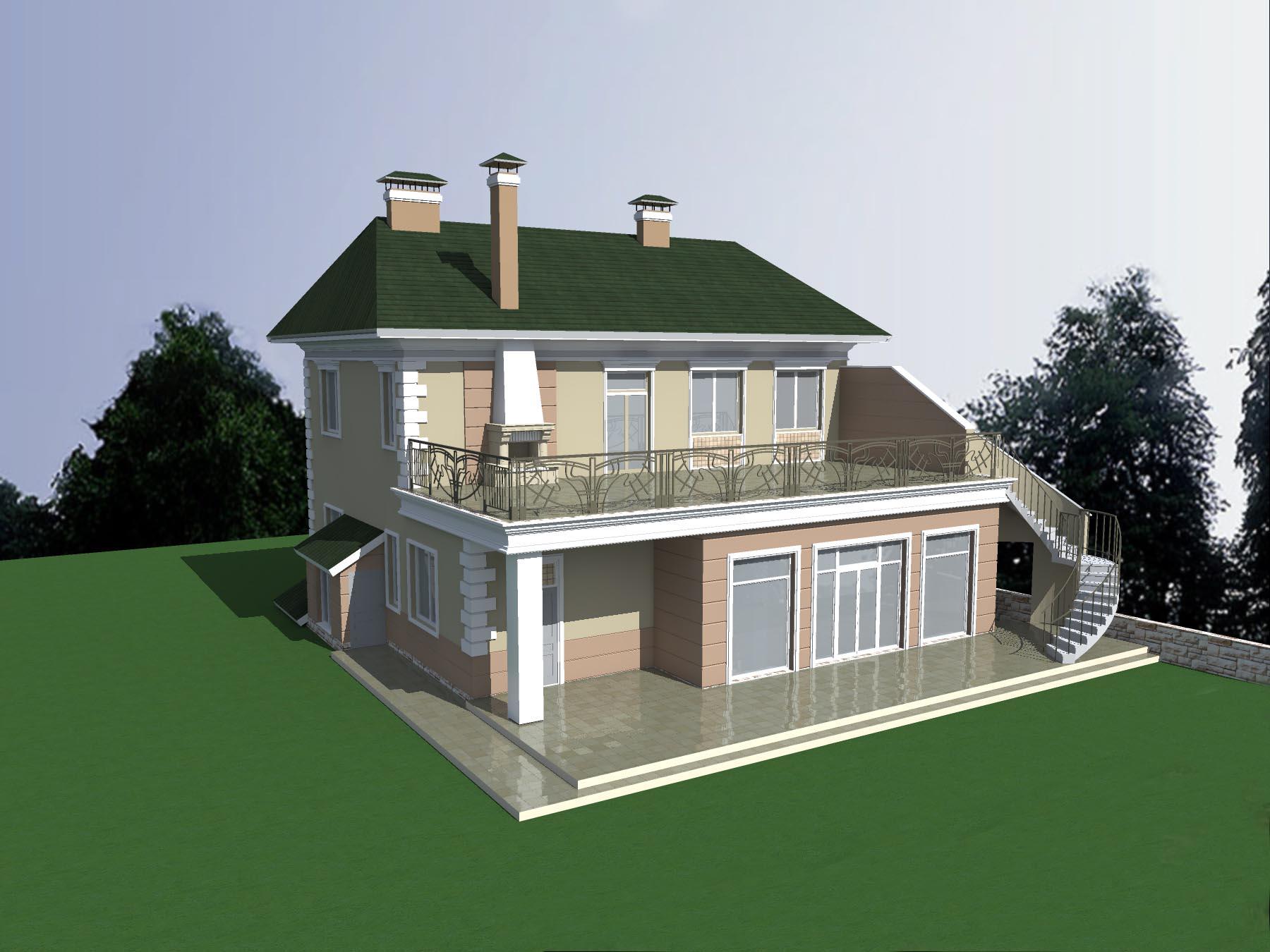 Двухэтажный кирпичный коттедж с подвалом (DWG)