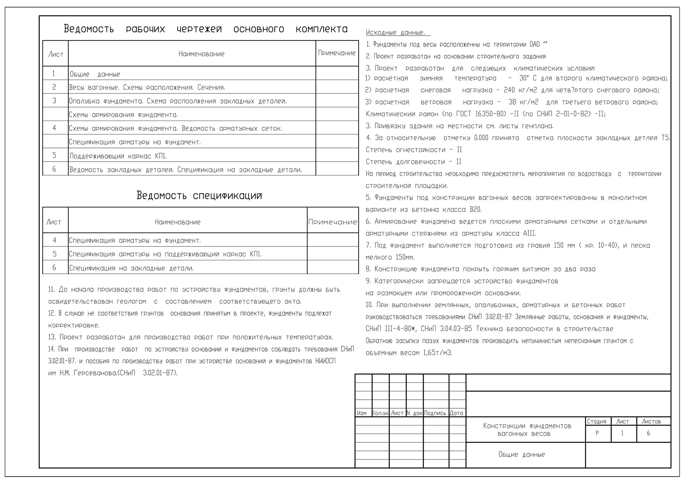 Конструкции фундаментов вагонных весов (DWG)