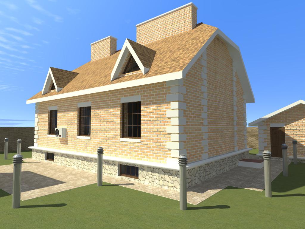 Двухэтажный коттедж с подвалом (DWG)