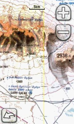 Topographic map of Mongolia