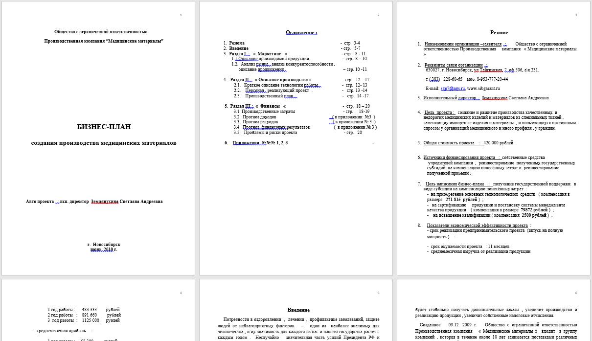 Рекомендации по написанию бизнес плана+хороший образец