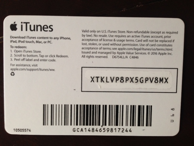 Buy Itunes Gift Card 5 Usa Photo Of The Back Side Sale And Download