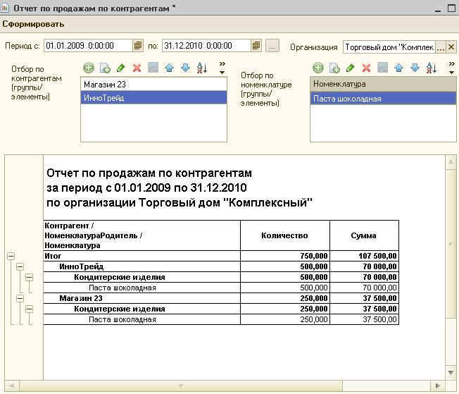 Sales Report for Accounting 2.0 1C 8.2