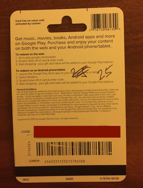 Google Play Gift Card $ 25 (real photo) + DISCOUNT