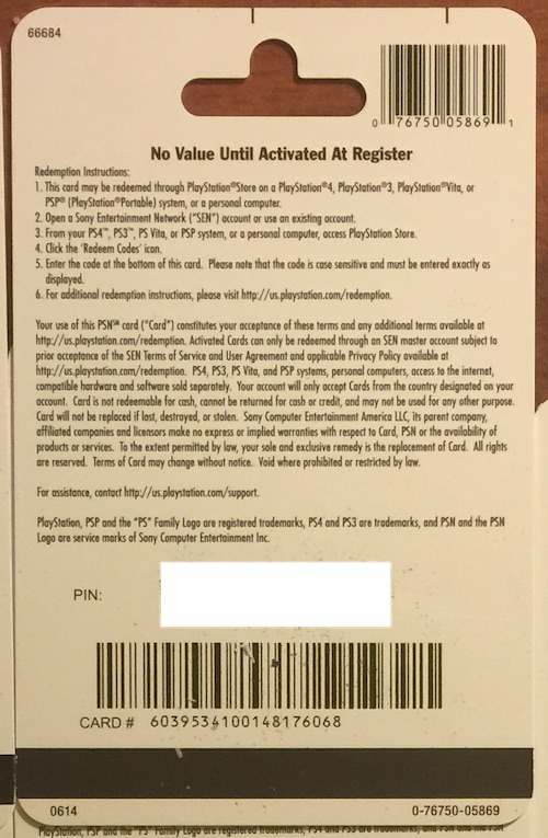 PSN Gift Card Code USA $ 20 for the PS4, PS3, PS Vita