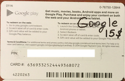 Google Play Gift Card $ 15 (real photo) + DISCOUNT
