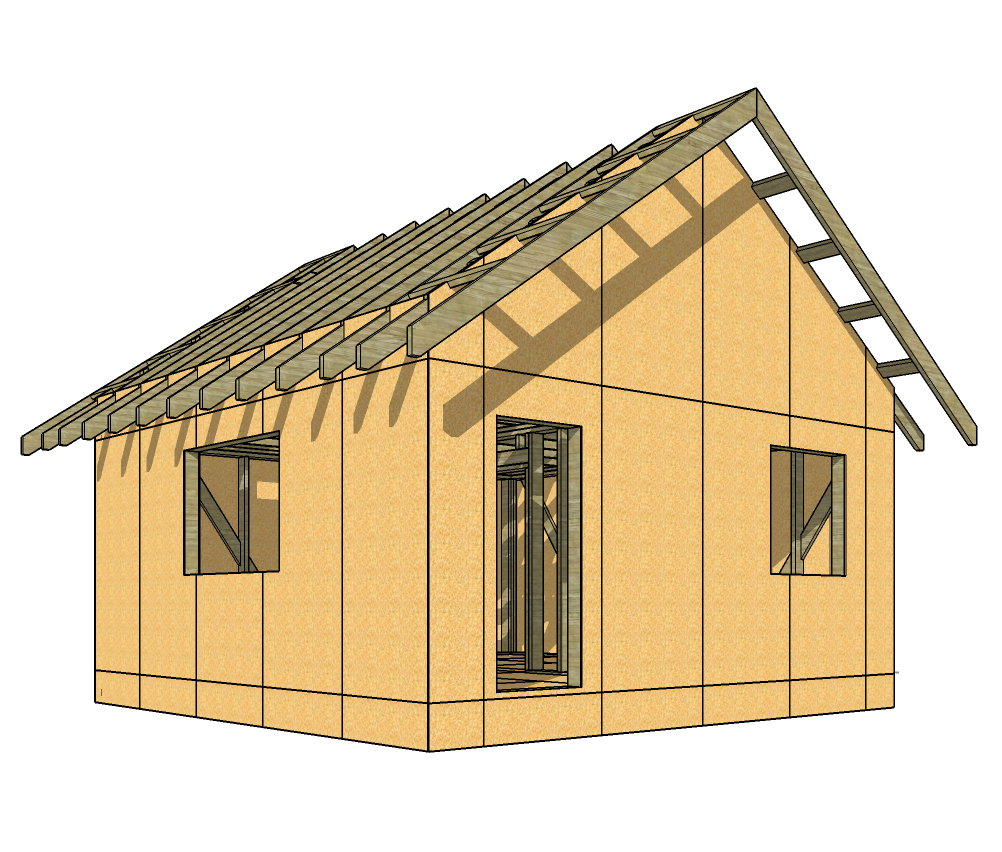 Project 6x6 frame house (3D model SketchUp)