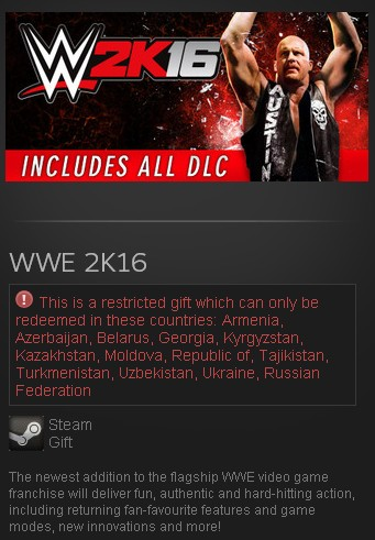 zWWE 2K16 + DLC (Steam Gift/RU CIS) + подарок