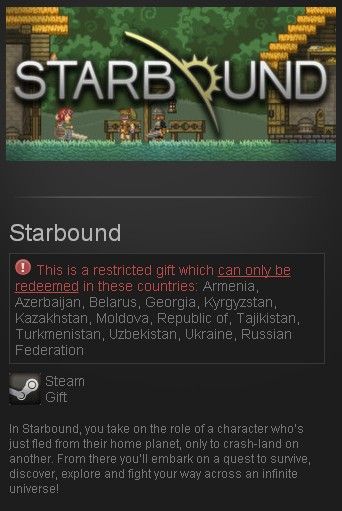 Starbound (Steam Gift/RU CIS) + подарок
