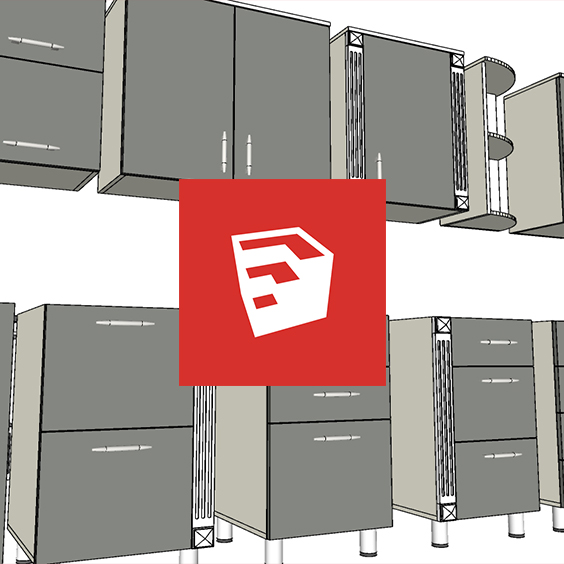 Dynamic components of kitchen sections for SketchUp