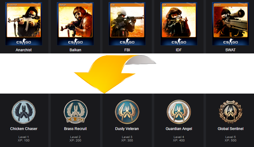 CS: GO - Set of 5 cards