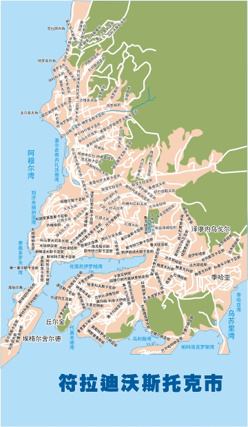 Vector map of the streets of Vladivostok Chinese (.cdr)