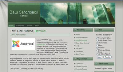 Шаблон  CMS Joomla 1.5 DarkSity