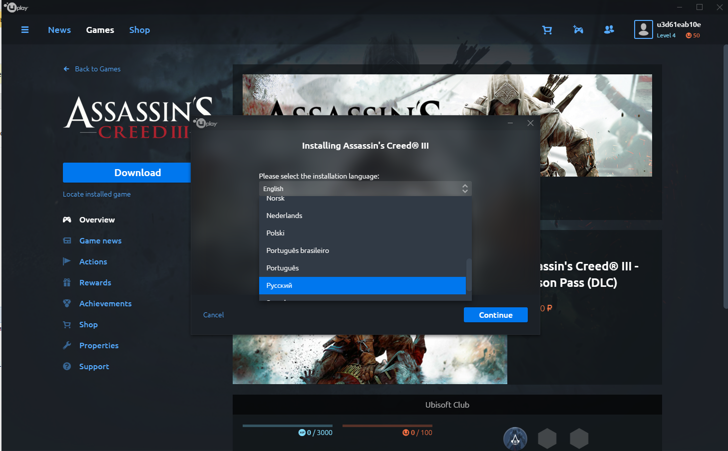 Assassin´s Creed III (Uplay account) Multilanguage