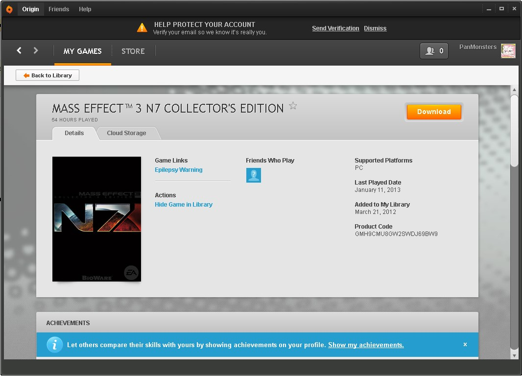 Mass effect 3 N7 Collectors edition (Origin account)