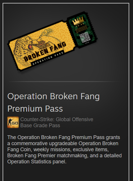 Counter-Strike CS:GO Operation Broken Fang (Trade)