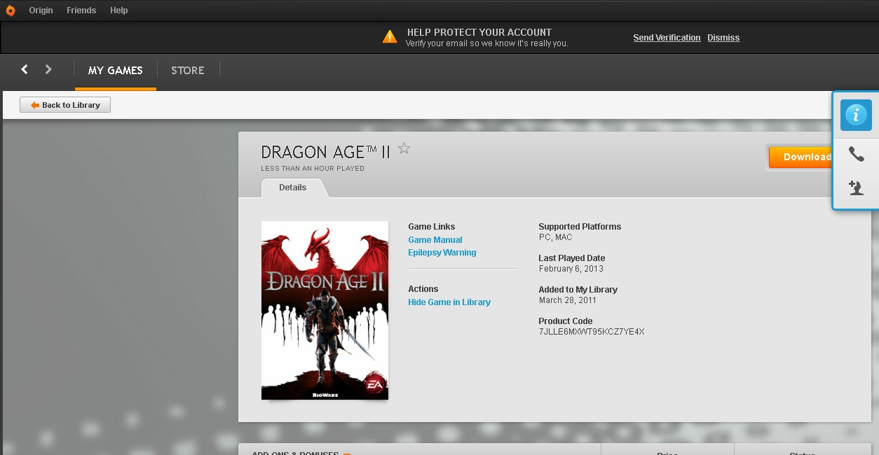 Dragon Age 2 - Mass effect (Origin account) RU