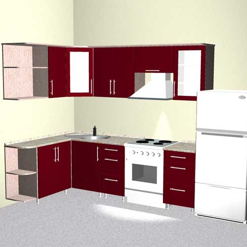 The project is the kitchen corner, clearance 2350h1550