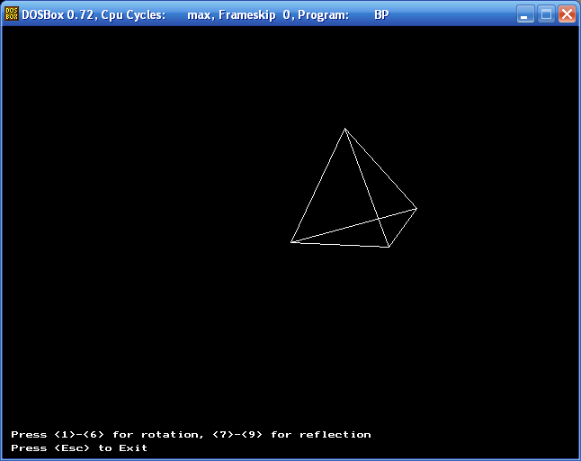 The three-dimensional conversion (tetrahedron, Turbo Pascal)