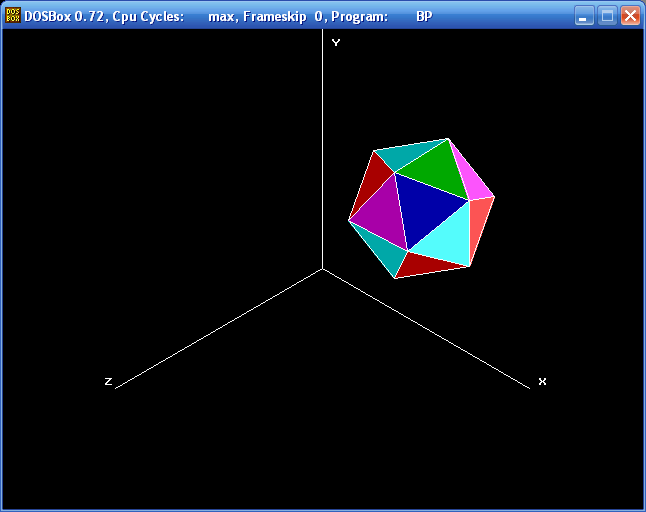 Projections (icosahedron, Isometric, Turbo Pascal)