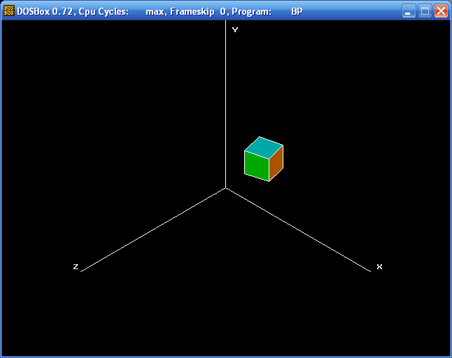 Projections (hexahedron, Isometric, Turbo Pascal)