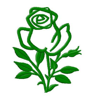 Machine embroidery flower rose