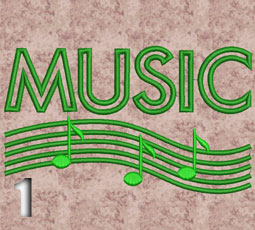 "2 Machine Embroidery Design ""MUSIC"""