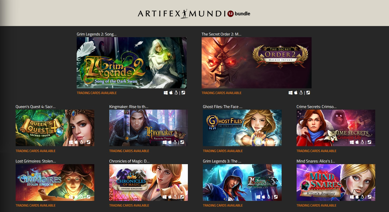 Indie Gala Artifex Mundi Bundle #12 (10 Steam key)