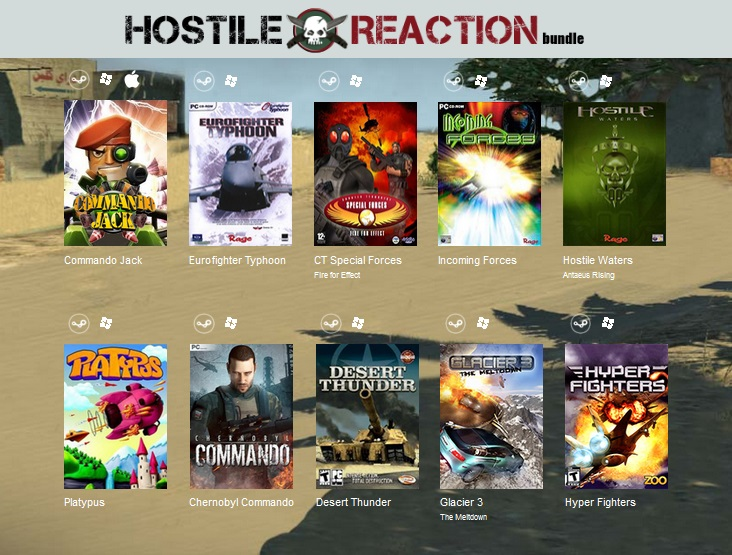 Indie Gala Bundle Hostile Reaction (10 Steam games)